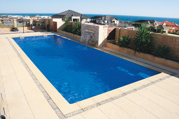 """""""Aspen"""" Inground Fibreglass Pool Design in Perth, pictured as backyard pool with water feature"""