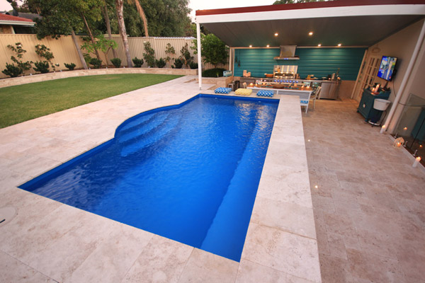 """Santorini"" Small Inground Fibreglass Swimming Pool, pictured as backyard pool"
