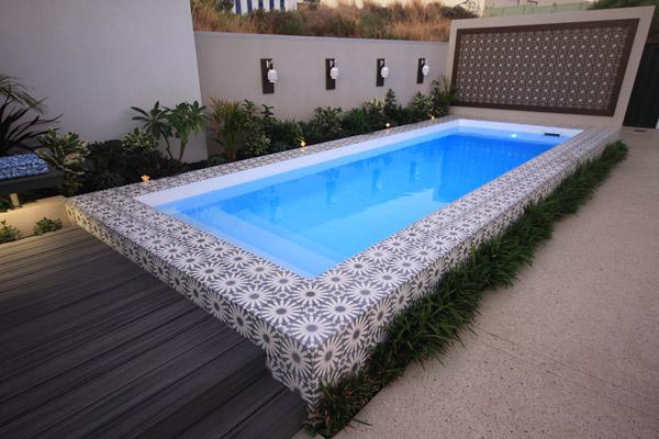 """""""Sentosa"""" Inground Fibreglass Swimming Pool Design, pictured in backyard"""